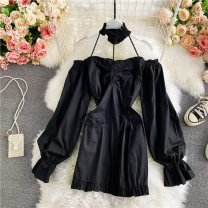 Dress Spring 2021 Black, white Average size Middle-skirt singleton  Long sleeves commute One word collar High waist Solid color Socket A-line skirt routine Others 18-24 years old Type A Korean version 30% and below other other
