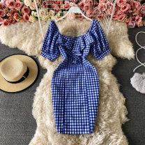Dress Summer 2021 Blue, black S,M,L Short skirt singleton  Short sleeve commute V-neck High waist lattice Socket other routine 18-24 years old Type H Korean version Lotus leaf edge 30% and below other other