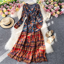Dress Summer 2020 Black, dark blue, white Average size Mid length dress singleton  Long sleeves commute V-neck High waist Decor Socket A-line skirt routine Others 18-24 years old Type A Korean version 30% and below other other