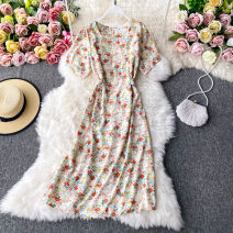 Dress Autumn 2020 Dark brown, blue, light brown, red, black, purplish red, white, violet on a white background Average size Mid length dress singleton  Long sleeves commute square neck High waist Decor Socket A-line skirt routine Others 18-24 years old Type A Korean version 30% and below other other