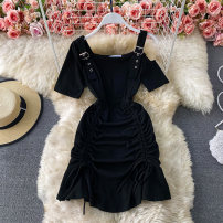 Dress Spring 2021 black Average size Short skirt singleton  Short sleeve commute Crew neck High waist Solid color Socket A-line skirt routine camisole 18-24 years old Type A Korean version Pleating, open back, stitching, three-dimensional decoration, asymmetry 30% and below other other