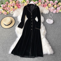 Dress Winter 2020 black M,L,XL,2XL Mid length dress singleton  Long sleeves commute tailored collar High waist Solid color Socket A-line skirt routine Others 18-24 years old Type A Korean version 30% and below other other