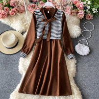 Dress Winter 2020 Average size Mid length dress Two piece set Long sleeves commute Crew neck High waist Solid color Socket A-line skirt routine Others 18-24 years old Type A Korean version 30% and below other other