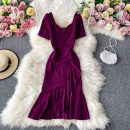 Dress Autumn 2020 Purplish red S,M,L Mid length dress singleton  Short sleeve commute square neck High waist Solid color Socket A-line skirt routine Others 18-24 years old Type A Korean version 30% and below other other