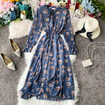 Dress Spring 2020 Average size Mid length dress singleton  Long sleeves commute Crew neck High waist Broken flowers Socket A-line skirt other Others 18-24 years old Type A Korean version 31% (inclusive) - 50% (inclusive) other other