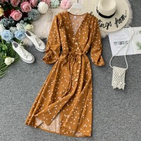 Dress Autumn of 2019 Average size Mid length dress singleton  elbow sleeve commute V-neck High waist Dot Single breasted A-line skirt other Others 18-24 years old Type A Korean version 31% (inclusive) - 50% (inclusive) other other