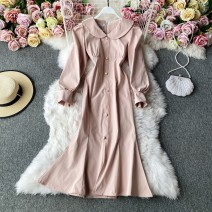 Dress Winter 2020 Pink, black M, L Mid length dress singleton  Long sleeves commute Lotus leaf collar High waist Solid color Socket A-line skirt routine Others 18-24 years old Type A Korean version 30% and below other other