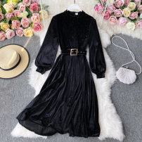 Dress Autumn 2020 Black, green, blue, red M,L,XL Mid length dress singleton  Long sleeves commute stand collar High waist Solid color Socket A-line skirt routine Others 18-24 years old Type A Korean version 30% and below other other