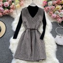 Dress Winter 2020 Dark brown, black, brown, black grain Average size Mid length dress Two piece set Long sleeves commute Crew neck High waist Solid color Socket A-line skirt routine Others 18-24 years old Type A Korean version 30% and below other other