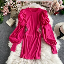 Dress Winter 2020 Red, rose, white, black, bright yellow, chocolate, light green Average size Mid length dress singleton  Long sleeves commute Crew neck High waist Solid color Socket A-line skirt routine Others 18-24 years old Type A Korean version 30% and below other other