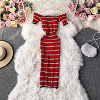Dress Autumn 2020 rose red , black , blue , red , yellow Average size Mid length dress singleton  Long sleeves commute square neck High waist stripe Socket A-line skirt routine Others 18-24 years old Type A Korean version 30% and below other other