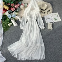 Dress Autumn of 2019 White, red Average size Mid length dress singleton  Long sleeves commute Hood High waist Solid color Socket Big swing bishop sleeve Others 18-24 years old Type A Korean version Bowknot, ruffle, pleat, lace, stitching, asymmetry, wave 31% (inclusive) - 50% (inclusive) Chiffon