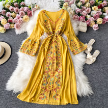 Dress Summer 2020 Average size Mid length dress singleton  three quarter sleeve commute V-neck High waist Decor Socket A-line skirt routine Others 18-24 years old Type A Korean version 30% and below other other