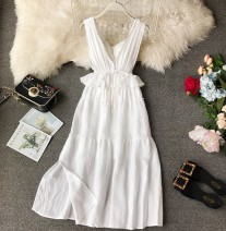 Dress Summer of 2019 white XS,S,M,L,XL Mid length dress singleton  Sleeveless commute V-neck High waist Solid color Socket Princess Dress other camisole 18-24 years old Type A Korean version Ruffle, tuck, open back, fold, splice, asymmetry, wave
