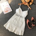 Dress Summer of 2018 White, black Average size Short skirt singleton  Sleeveless commute V-neck High waist Solid color Socket other other camisole 18-24 years old Type A Korean version Flounce, hollowed out, open back, Gouhua, hollowed out, splicing, asymmetry, wave, lace Lace
