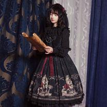 Dress Summer 2021 black S,M,L Mid length dress singleton  Sleeveless Sweet middle-waisted Cartoon animation Socket Ruffle Skirt camisole Under 17 Type A Other / other Lolita