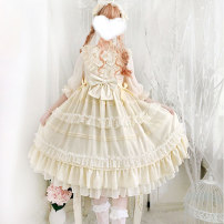 Dress Spring 2021 Apricot, black S,M,L Mid length dress singleton  elbow sleeve Sweet Lotus leaf collar middle-waisted zipper other Others 18-24 years old Type A Other / other Bowknot, chain, lace, stitching, zipper, lace Lolita
