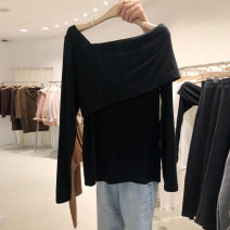 T-shirt Black, dark grey S,M,L,XL Spring 2021 Long sleeves One word collar easy Regular routine commute cotton 96% and above 18-24 years old Korean version originality Solid color Asymmetry