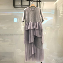 Dress Summer 2020 Gray, black S,M,L,XL Mid length dress singleton  Short sleeve commute Crew neck Loose waist Solid color Socket Cake skirt routine Others 18-24 years old Type H Korean version Splicing, asymmetry, mesh, resin fixation More than 95% other cotton