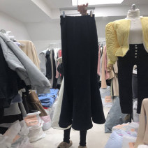 skirt Autumn 2021 S,M,L,XL Black, gray Mid length dress commute High waist A-line skirt Solid color Type A 18-24 years old More than 95% other other Resin fixation Korean version