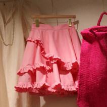 skirt Summer 2021 S,M,L,XL Pink Short skirt commute High waist Cake skirt Solid color Type A 18-24 years old 81% (inclusive) - 90% (inclusive) other Other / other Fungus, splicing Korean version