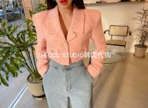short coat Spring 2021 Average size Pink, green, black Long sleeves routine routine singleton  Self cultivation commute routine tailored collar Single breasted Solid color 25-29 years old Button polyester fiber