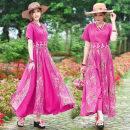 Dress Summer of 2019 Rose red, light green L,XL,2XL longuette singleton  Short sleeve commute V-neck Elastic waist Socket Big swing 40-49 years old Type A ethnic style Embroidery, stitching, printing 51% (inclusive) - 70% (inclusive) cotton
