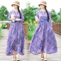 Dress Summer of 2019 Purple flower L,XL longuette singleton  three quarter sleeve commute Crew neck Elastic waist Broken flowers Socket Big swing 40-49 years old Type A ethnic style Stitching, printing 51% (inclusive) - 70% (inclusive) polyester fiber