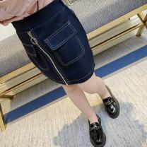 skirt 7 / 100, 9 / 110, 11 / 120, 13 / 130 Navy Blue Other / other female Polyethylene terephthalate (PET) 95% polyurethane elastic fiber (spandex) 5% spring and autumn skirt lady Solid color A-line skirt polyester fiber G1085 Class B