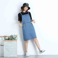 Dress Summer 2020 blue L,XL,2XL Middle-skirt singleton  Sleeveless Sweet other High waist Solid color other A-line skirt other straps 18-24 years old Type H Pocket, lace up, strap A006 51% (inclusive) - 70% (inclusive) Denim cotton college