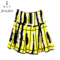 skirt Summer 2016 Middle-skirt Versatile Pleated skirt Natural waist Design and color 51% (inclusive) - 70% (inclusive) cotton LSAJAA0J02 FAIRYFAIR S 155, m 160, l 165 Black flower with yellow background
