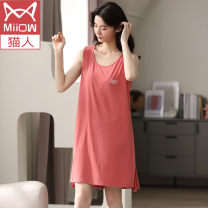 Nightdress Miow / cat man Md2033 [gray blue], md2033 [pink], md2033 [light purple], md2033 [brick red], md2034 [bean paste], md2034 [dark purple] M【80-100】,L【100-120】,XL【120-140】,XXL【140-160】,XXXL【160-180】 Sweet Short sleeve Leisure home Middle-skirt summer Solid color youth Crew neck cotton printing
