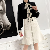 skirt Autumn 2020 M. L, XL, 2XL, other sizes can be customized, small size models wear M Milky white, black Mid length dress sexy High waist skirt Solid color Type X More than 95% Sheepskin Sheepskin pocket