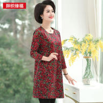 Middle aged and old women's wear Spring of 2019 Decor leisure time Dress easy singleton  Decor 40-49 years old Socket moderate Medium length Fat weaves Lycra Lycra 30% and below Pure e-commerce (online only)