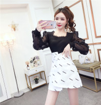 Dress Spring 2021 White skirt, black skirt, white and black skirt, rose red and black skirt, black and white skirt, rose red coat, white coat, black coat S. M, l, average size Short skirt Two piece set Long sleeves commute square neck High waist Solid color Socket Irregular skirt bishop sleeve Retro