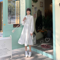 Dress Spring 2021 Benbai S,M,L Mid length dress singleton  Long sleeves Sweet Polo collar Hand painted Socket Ruffle Skirt routine 18-24 years old Type A Other / other Ruffles, pleats, embroidery, stitching, three-dimensional decoration 71% (inclusive) - 80% (inclusive) polyester fiber solar system