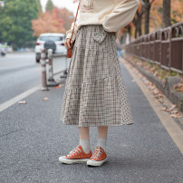 skirt Spring 2021 S,M,L Black and red check longuette Sweet High waist Irregular lattice Type A 18-24 years old More than 95% Other / other polyester fiber Fold, three-dimensional decoration, asymmetry, splicing solar system