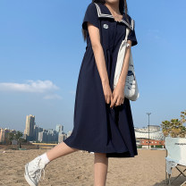 Dress Summer 2021 Cyanosis S,M,L longuette singleton  Short sleeve Sweet Admiral High waist Solid color Socket A-line skirt routine 18-24 years old Type A Other / other 51% (inclusive) - 70% (inclusive) polyester fiber college