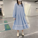 Dress Spring 2021 Water blue S,M,L longuette singleton  Long sleeves commute Crew neck Solid color routine 18-24 years old Type A Other / other Retro Pleats, stitching, three-dimensional decoration, zippers, lace 51% (inclusive) - 70% (inclusive) cotton