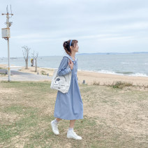 Dress Spring 2021 The sky is blue S,M,L longuette singleton  Long sleeves Sweet Admiral Solid color Socket A-line skirt routine 18-24 years old Type A Other / other Folds, stitching, three-dimensional decoration More than 95% cotton solar system