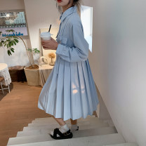 Dress Spring 2021 Water wave blue S,M,L Mid length dress singleton  Long sleeves Sweet Polo collar High waist Solid color Socket Pleated skirt routine 18-24 years old Type A Other / other 71% (inclusive) - 80% (inclusive) polyester fiber solar system