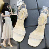 Sandals 35 36 37 38 39 Off white yellow green PU Yishi soman Barefoot Square heel Middle heel (3-5cm) Summer 2021 Flat buckle leisure time Solid color Adhesive shoes Youth (18-40 years old) rubber daily Beading PU PU QQQ230195173991_ qlTmB Fashion sandals