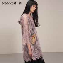 Dress Summer 2021 O20 fog rose K40 black XS S M L XL Mid length dress Two piece set three quarter sleeve commute Hood Loose waist other Socket other Lotus leaf sleeve 25-29 years old Type H Broadcast / broadcast Korean version Splicing BDN7LD896 More than 95% Lace polyester fiber Polyester 100%