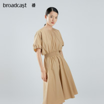 Dress Summer 2021 O50 autumn leaf Brown XS S M L XL Mid length dress singleton  Short sleeve commute Crew neck middle-waisted Solid color Socket Lantern skirt Bat sleeve 25-29 years old Type X Broadcast / broadcast Retro fold DDO2LD2301 More than 95% cotton Cotton 100%