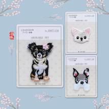 Cloth stickers Xishi dog little Bomei Bulldog Collar embroidery Animal design Q3-10