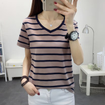 T-shirt Khaki (816), Rose (816), apricot (996) M,L,XL,2XL,3XL,4XL,5XL Summer 2020 Short sleeve V-neck easy Regular routine commute cotton 86% (inclusive) -95% (inclusive) Korean version classic Coarse horizontal stripe Asymmetry