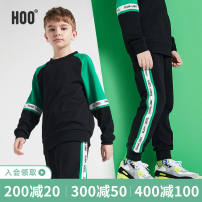 suit Hoo Black single layer Suit Black Plush suit 130cm 140cm 150cm 160cm 170cm 175cm male spring and autumn leisure time Long sleeve + pants 2 pieces routine There are models in the real shooting Socket nothing Solid color cotton children Giving presents at school KF-B9287 Class B Autumn 2020