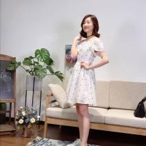 Dress Summer of 2018 White (spot) S,M,L Short skirt singleton  Short sleeve square neck High waist Socket routine Muyao More than 95% cotton