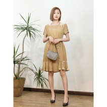 Dress Spring 2021 Black, champagne S,M,L Mid length dress singleton  Short sleeve commute Crew neck High waist Solid color Socket routine 25-29 years old Muyao Q22018 30% and below other silk