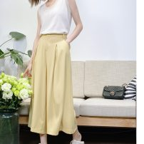 Casual pants White, black, cream yellow XS,S,M,L Summer 2020 Ninth pants Wide leg pants Natural waist routine 25-29 years old 96% and above K9296 Muyao